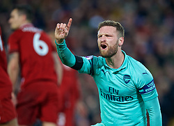 LIVERPOOL, ENGLAND - Saturday, December 29, 2018: Arsenal's Shkodran Mustafi looks dejected after missing a chance during the FA Premier League match between Liverpool FC and Arsenal FC at Anfield. (Pic by David Rawcliffe/Propaganda)