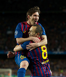 24.04.2012, Stadion Camp Nou, Barcelona, ESP, UEFA CL, Halblfinal-Rueckspiel, FC Barcelona (ESP) vs FC Chelsea (ENG), im Bild FC Barcelona's Lionel Messi celebrates with goal-scorer Andres Iniesta after the second goal against Chelsea during the UEFA Championsleague Halffinal 2st Leg Match, between FC Barcelona (ESP) and FC Chelsea (ENG), at the Camp Nou Stadium, Barcelona, Spain on 2012/04/24. EXPA Pictures © 2012, PhotoCredit: EXPA/ Propagandaphoto/ David Rawcliff..***** ATTENTION - OUT OF ENG, GBR, UK *****