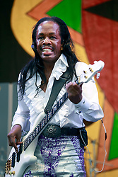 28 April 2013. New Orleans, Louisiana,  USA. .Verdine White of Earth, Wind and Fire plays the Congo Square stage at the New Orleans Jazz and Heritage Festival. .Photo; Charlie Varley.