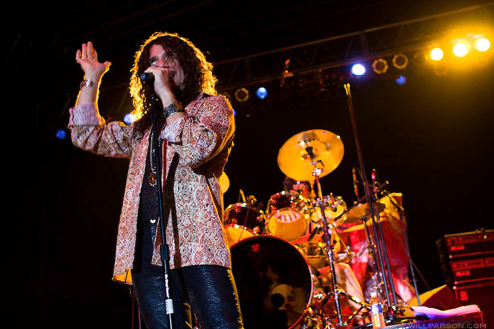 Popular 70s British rock band Sweet, headed by vocalist Joe Retta, performs at Qualcomm Stadium in San Diego as part of a benefit concert for the victims of the October 2007 wildfires.
