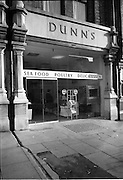 12/11/1965<br /> 11/12/1965<br /> 12 November 1965<br /> Dunn's fish shop on Baggot Street, Dublin. Image shows exterior view of the new premises.
