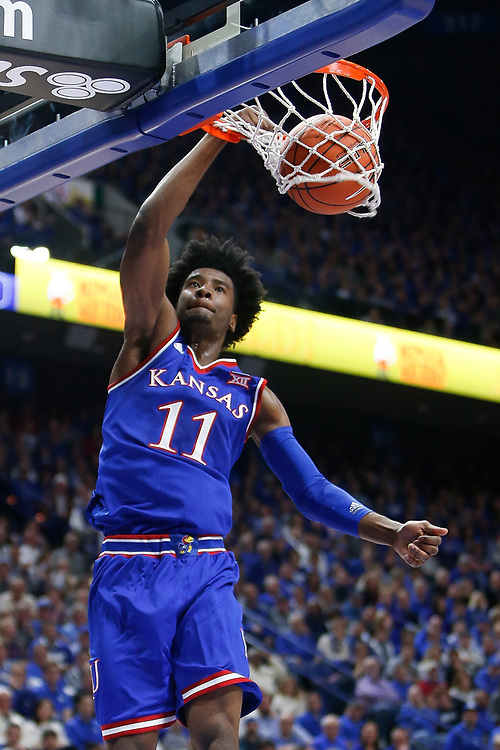 Kansas Jayhawks guard Josh Jackson slams home a dunk against the Kentucky Wildcats on Saturday January 28, 2017 at Rupp Arena in Lexington, Ky. Photo by Michael Reaves | Staff