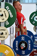 Chorzow, Poland - 2018 June 10: Special Olympics Athlete Andrzej Witek lifts in men's weightlifting competition during National Special Olympics Games 2018 at Slaski Stadium on June 10, 2018 in Chorzow, Poland.<br /> <br /> Adam Nurkiewicz declares that he has no rights to the image of people at the photographs of his authorship.<br /> <br /> Picture also available in RAW (NEF) or TIFF format on special request.<br /> <br /> Any editorial, commercial or promotional use requires written permission from the author of image.<br /> <br /> Image can be used in the press when the method of use and the signature does not hurt people on the picture.<br /> <br /> Mandatory credit:<br /> Photo by © Adam Nurkiewicz / Mediasport
