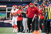 Kansas City Chiefs head coach Andy Reid reacts after a Chiefs fumble against the New England Patriots in the third quarter of the AFC Divisional Playoff game at Gillette Stadium in Foxborough, Massachusetts on January 16, 2016. The Patriots defeated the Chiefs, 27-20.    Photo by Kelvin Ma/ UPI