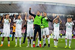 Players of Olimpija celebrating after football match between NK Maribor and Olimpija Ljubljana in 32nd Round of Prva liga Telekom Slovenije 2018/19, on May 11, 2019 in Ljudski Vrt, Maribor, Slovenia. Photo by Blaž Weindorfer / Sportida