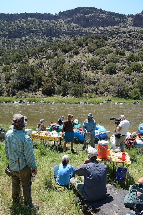 jt062917j/ a sec/jim thompson/ A group of outdoor journalist and members of conservations groups gather along the bank of the Rio Grande in the Middle Box area to discuss the proposed Rio Grande del Norte Nation Monument.Thursday June. 29, 2017. (Jim Thompson/Albuquerque Journal)