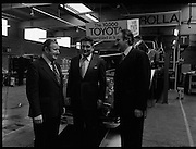 Toyota roll out 10,000th car assembled in Ireland..(L18)..1977..26.05.1977..05.26.1977..26th May 1977..Today saw the rolling out of the 10,000th car to come off the assembly line at Toyota Irl.,Ltd. The car,a Corolla,is part of a range that has made Toyota the fourth best selling range of cars in Ireland...Picture shows  (L-R) Mr Denis Fitzgibbon, Sales Director, Mr Tim Mahony, Chairman and Managing Director and Mr Larry Doyle, Deputy Managing Director at the roll out of the 10,000 Toyota car assembled here.