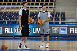 Erazem and his brother Domen Lorbek of Slovenia during the practice session, on September 11, 2009 in Arena Lodz, Hala Sportowa, Lodz, Poland.  (Photo by Vid Ponikvar / Sportida)