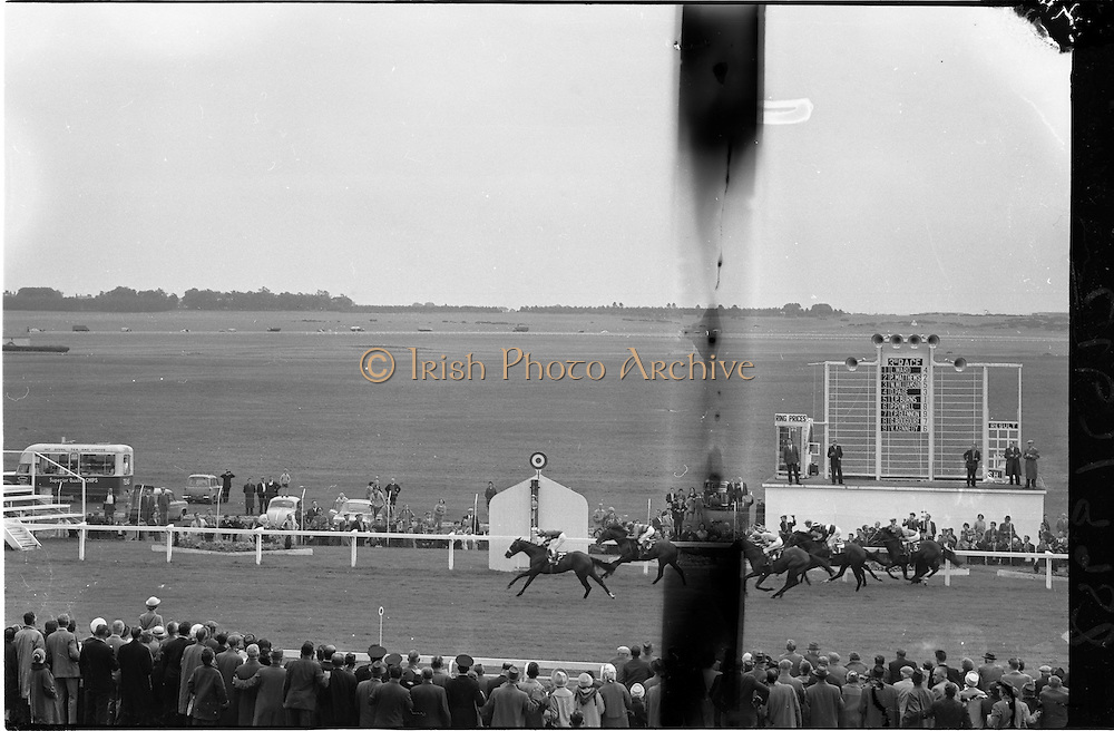 """19/09/1962<br /> 09/19/1962<br /> 19 September 1962<br /> Irish St. Leger at the Curragh Race Course, Co. Kildare. Image shows """"Arctic Vale"""" ridden by Peadar Matthews, winning the race ahead of Garnie Bougoure on """"Nos Royalistes"""""""
