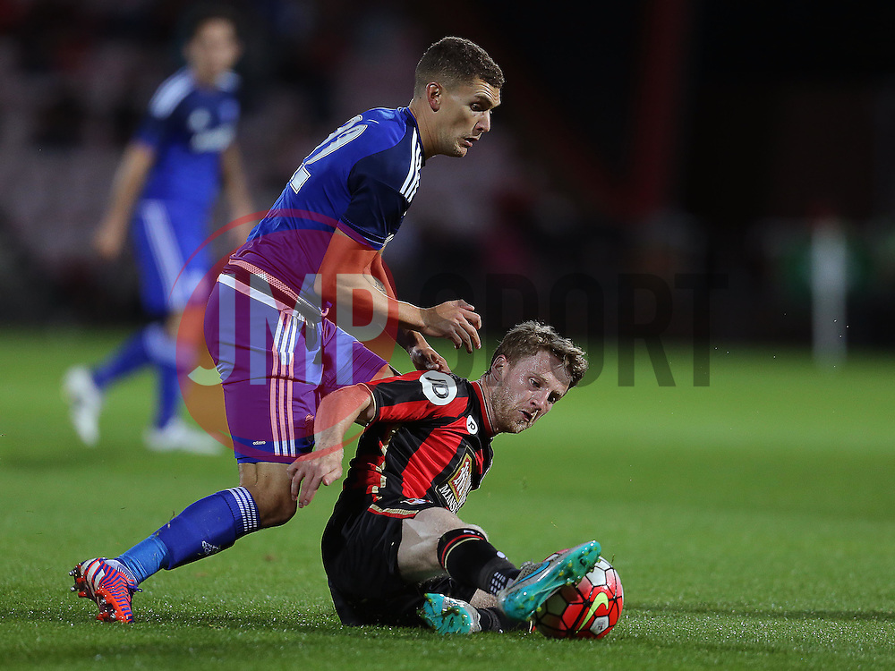 Stuart O'Keefe of Cardiff City and Eunan O'Kane of Bournemouth challenge for the ball  - Mandatory by-line: Paul Terry/JMP - 07966386802 - 31/07/2015 - SPORT - FOOTBALL - Bournemouth,England - Dean Court - AFC Bournemouth v Cardiff City - Pre-Season Friendly