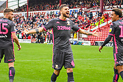 Leeds United midfielder Mateusz Klich (43) scores a penalty goal and celebrates to make the score 0-2 during the EFL Sky Bet Championship match between Barnsley and Leeds United at Oakwell, Barnsley, England on 15 September 2019.