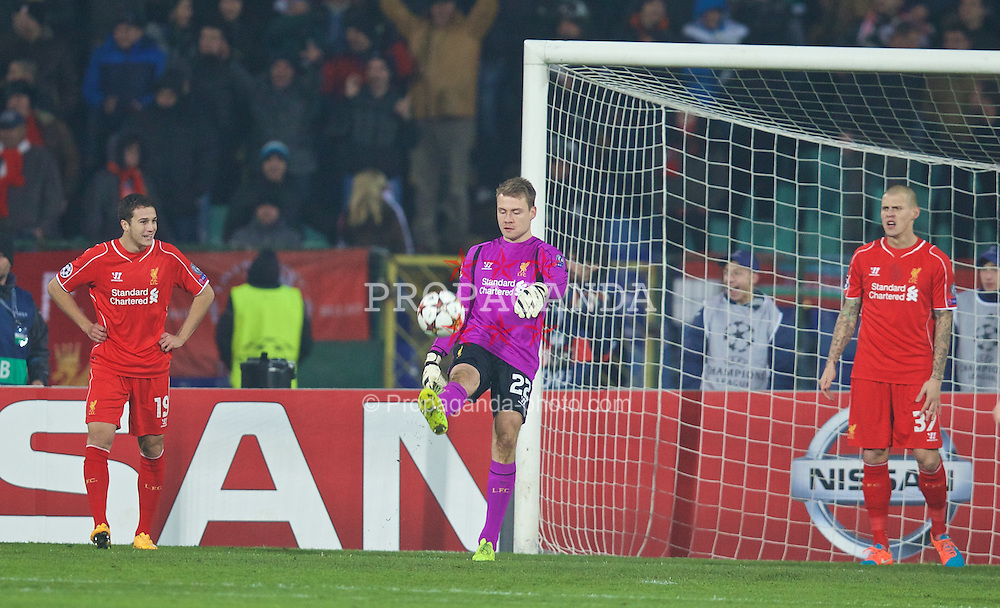 SOFIA, BULGARIA - Wednesday, November 26, 2014: Liverpool's Rickie Lambert looks dejected as PFC Ludogorets Razgrad score the opening goal during the UEFA Champions League Group B match at the Vasil Levski National Stadium (Pic by David Rawcliffe/Propaganda)