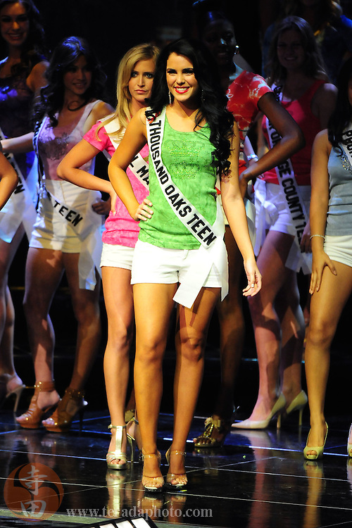 "November 22, 2009; Rancho Mirage, CA, USA; Miss Thousand Oaks Teen USA Tone Martin smiles after being announced a Top 15 finalist during the Miss California Teen USA 2010 Pageant at ""The Show"" at the Agua Caliente Resort & Spa. Mandatory Credit: Kyle Terada-Terada Photo"