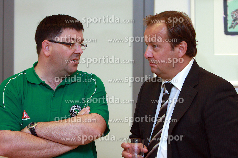 Tomaz Langerholc and Matjaz Sekelj at meeting of HD Tilia Olimpija with slovenian journalists before the new season,  on September 15, 2008 in Tivoli, Ljubljana, Slovenia.  (Photo by Vid Ponikvar / Sportal Images)