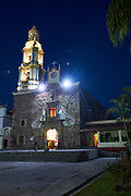 Night view of Parroquia San Andres Apostol, Ajijic, Mexico.  Ajijic, Jalisco, Mexico