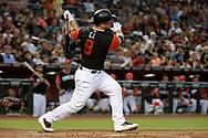 PHOENIX, AZ - AUGUST 26:  Chris Iannetta #8 of the Arizona Diamondbacks wearing a nickname-bearing jersey swings at a pitch in the game against the San Francisco Giants at Chase Field on August 26, 2017 in Phoenix, Arizona.  (Photo by Jennifer Stewart/Getty Images)