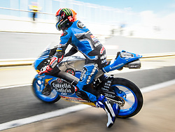 October 20, 2017 - Melbourne, Victoria, Australia - Spanish rider Aron Canet (#44) of Estrella Galicia 0,0 leaves his garage during the first free practice session of the Moto3 class at the 2017 Australian MotoGP at Phillip Island, Australia. (Credit Image: © Theo Karanikos via ZUMA Wire)