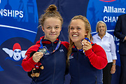Maisie Summers-Newton of Great Britain (left) with her Silver Medal and Ellie Simmonds of Great Britain with her Bronze Medal from the Women's 100 m Breaststroke SB6 during the World Para Swimming Championships 2019 Day 7 held at London Aquatics Centre, London, United Kingdom on 15 September 2019.
