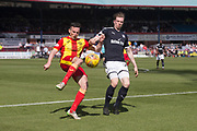 12th May 2018, Dens Park, Dundee, Scotland; Scottish Premier League football, Dundee versus Partick Thistle; Paul McGinn of Partick Thistle and Craig Wighton of Dundee