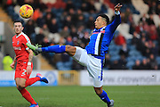 Nathaniel Mendez-Laing lobs just over the bar during the EFL Sky Bet League 1 match between Rochdale and Charlton Athletic at Spotland, Rochdale, England on 18 February 2017. Photo by Daniel Youngs.