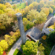 Goldie Mill, as seen in the fall with a drone.  A unique Guelph ruin as never seen before!  Photo by Phil Maurion / Andrew Goodwin / Eye Fly Media Inc.