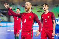 Pedro Cary celebrate during futsal match between Portugal and Azerbaijan in Quaterfinals of UEFA Futsal EURO 2018, on February 6, 2018 in Arena Stozice, Ljubljana, Slovenia. Photo by Ziga Zupan / Sportida