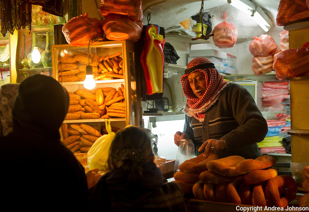 Ancient Bazaar within the old walled city of Jerusalem, Israel