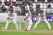 Paul Stirling of Middlesex hits the ball to the boundary for four runs during the Specsavers County Champ Div 1 match between Somerset County Cricket Club and Middlesex County Cricket Club at the Cooper Associates County Ground, Taunton, United Kingdom on 26 September 2017. Photo by Graham Hunt.