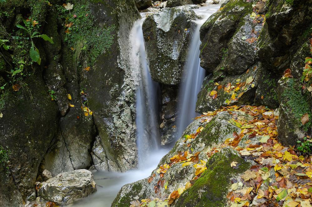 Waterfall, Valea Prapastiilor, National Park Piatra Craiului, Transylvania, Southern Carpathians, Romania