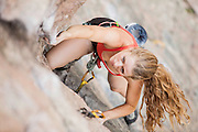 Sophia Di Biase on First Impressions, 5.9, at Little Eiger in Clear Creek Canyon, Golden, CO. Kris Ugarriza - Red Wave Pictures