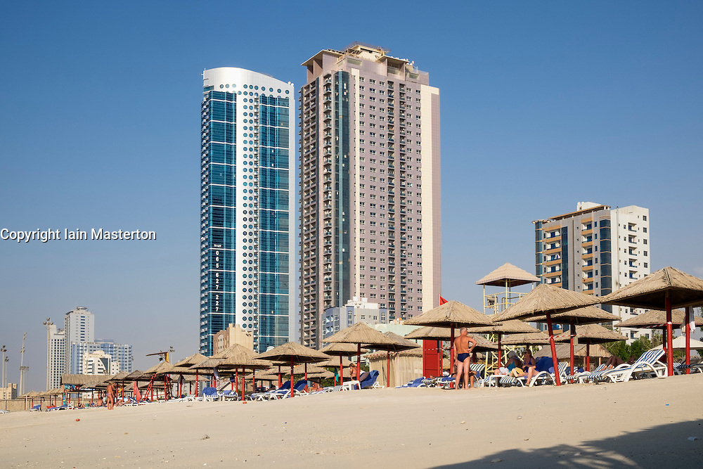 Small private beach club  on waterfront of Ajman emirate in United Arab Emirates