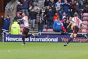 Sunderland's Defender Patrick van Aanholt celebrates after Sunderlands first goal during the Barclays Premier League match between Sunderland and Manchester United at the Stadium Of Light, Sunderland, England on 13 February 2016. Photo by George Ledger.