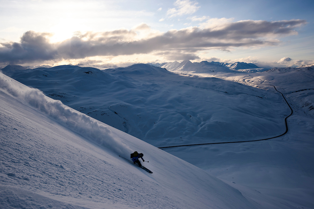Dorian Densmore charges an evening line above the Haines Highway, BC.