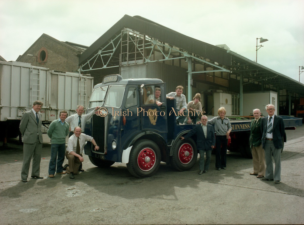 Handover of Old Guinness Truck.   (M83)..1979..24.07.1979..07.24.1979..24th July 1979..The Albion Truck registration number RLV 154 was officially handed over to the Howth, National Transport Museum today. The vehicle was found in a scrap yard and purchased by the museum. History checking on the vehicle found that it had been part of the Guinness fleet both in Ireland and England. On hearing about the truck Guinness came on board and helped restore the vehicle to its former glory. An  eight wheeler of model type HD57 it is classed as a very rare model. The truck is powered by a six cylinder 'Whispering Giant' engine..Albion were a commercial vehicle builder based in Scotland..To see this and many other rare vehicles The museum is located in the Heritage Depot, Howth Demesne, Howth, Ireland. 60 vehicles are currently in Howth on display.