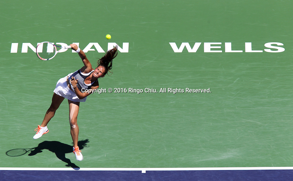 Daria Kasatkina of Russia in action against Karolina Pliskova of Czech during the women's singles quarterfinals of the BNP Paribas Open tennis tournament on Thursday, March 17, 2016 in Indian Wells, California.  Pliskova won 6-3, 6-2.(Photo by Ringo Chiu/PHOTOFORMULA.com)<br /> <br /> Usage Notes: This content is intended for editorial use only. For other uses, additional clearances may be required.