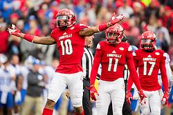 Louisville cornerback Jaire Alexander celebrates an interception in the first half. The University of Louisville hosted Kentucky, Saturday, Nov. 26, 2016 at Papa John's Cardinal Stadium in Louisville. Kentucky won the game 41-38.