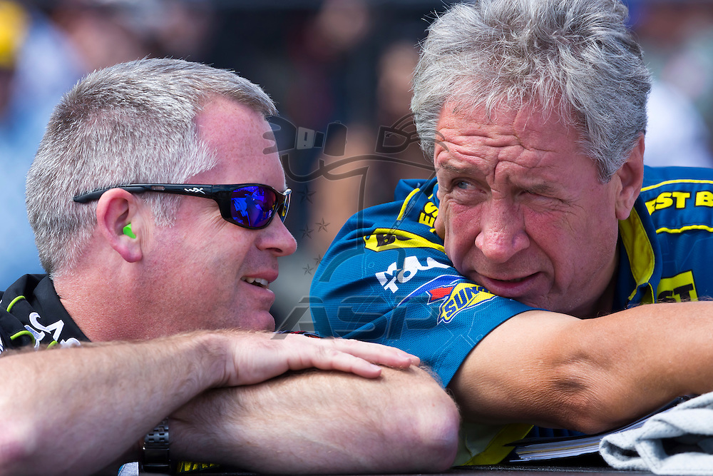 SONOMA, CA - JUN 24, 2012:  Crew Chiefs, Bob Osborne and Jimmy Fenning, talk before the Toyota Save Mart 350 at the Raceway at Sonoma in Sonoma, CA.