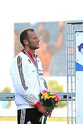 09.08.2014, Krylatskoe, Moskau, RUS, ICF, Kanu WM 2014, Moskau, im Bild Max Hoff (Essen) belegt im KI.000m bei der WM in Moskau den zweiten Platz // during the ICF Canoe Sprint World Сhampionships 2014 at the Krylatskoe in Moskau, Russia on 2014/08/09. EXPA Pictures © 2014, PhotoCredit: EXPA/ Eibner-Pressefoto/ Freise<br /> <br /> *****ATTENTION - OUT of GER*****