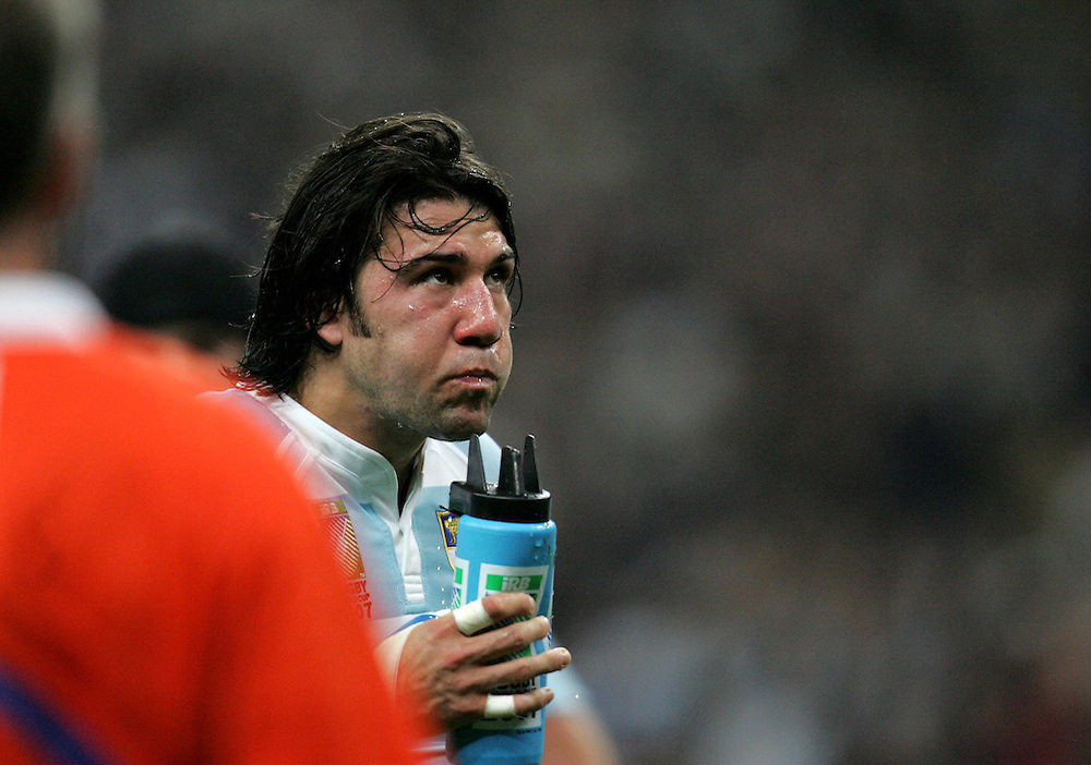 Ignacio Corleto drinks some water to help cool down. South Africa v Argentina, Semi Final, IRB Rugby World Cup 2007, Stade De France, St Denis, France, 14th October 2007.