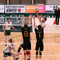 4th year outside hitter Dalton Wolfe (9) of the Regina Cougars in action during the Women's Volleyball Home Game vs U of C Dinos on October21 at the CKHS University of Regina. Credit Arthur Ward/©Arthur Images 2017