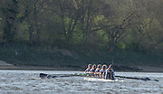 """London, Great Britain, """"Final Strokes"""" as Oxford UWBC. win the first Women's race on the Tideway,  Newton Women's Boat Race, Men's Race , Championship Course.  River Thames. Putney to Mortlake. ENGLAND. <br /> <br /> 17:09:32  Saturday  11/04/2015<br /> <br /> [Mandatory Credit; Peter Spurrier/Intersport-images]<br /> <br /> OUWBC Crew: <br /> Maxie SCHESKE, Anastasia CHITTY, Shelley PEARSON, Lauren KEDAR, Maddy BADCOTT, Emily REYNOLDS, Nadine GRAEDEL IBERG, Caryn DAVIES and Cox Jennifer EHR"""