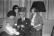 13/02/1963<br /> 02/13/1963<br /> 13 February 1963<br /> Retirement presentation at Gilbeys of Ireland Ltd., Dublin. A presentation of a cheque for £100 and a gold watch was made to Paddy Slater (65), on his retirement after 49yrs and 7 months service with the company. A sum of money was also presented by the staff. Picture shows: Mr. Slater showing the watch to his daughters, Mrs Sheila McGuckian, May and Joan Slater and grandchild Declan after the presentation. The two girls work at Gilbeys and Mrs McGuckian also worked there.