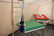 Maternity tent mock-up in emergency supplies warehouse, Deutsches Rotes Kreuz (DRK - German Red Cross) at their logistics centre at Berlin-Schönefeld airport.