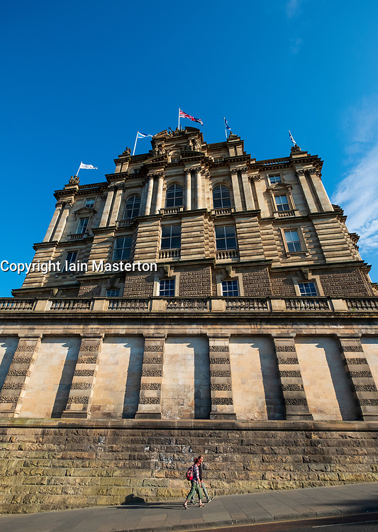 View of the former headquarters of the Bank of Scotland on The Mound in Edinburgh, Scotland, UK