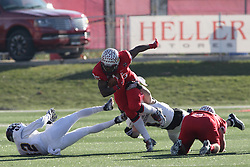 05 December 2015:  Brett Taylor(44) pursues a quick sprint from Marshaun Coprich(25). NCAA FCS Round 2 Football Playoff game between Western Illinois Leathernecks and Illinois State Redbirds at Hancock Stadium in Normal IL (Photo by Alan Look)