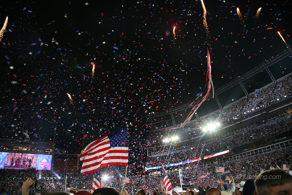 Celebration on the floor of the Democratic National Convention follong Barack Obama's democratic presidential nominee acceptance speech, Invesco Field, Denver, Colorado, August 28, 2008.
