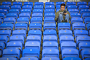 A lonely fan before the Sky Bet Championship match between Reading and Derby County at the Madejski Stadium, Reading, England on 15 September 2015. Photo by Adam Rivers.