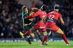 Brad Thorn of Leicester Tigers takes on the Toulon defence - Photo mandatory by-line: Patrick Khachfe/JMP - Mobile: 07966 386802 07/12/2014 - SPORT - RUGBY UNION - Leicester - Welford Road - Leicester Tigers v Toulon - European Rugby Champions Cup