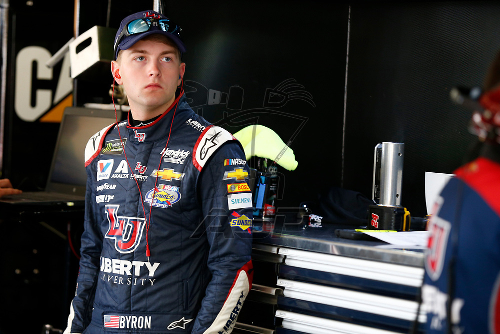 February 23, 2018 - Hampton, Georgia, USA: William Byron (24) hangs out in the garage during practice for the Folds of Honor QuikTrip 500 at Atlanta Motor Speedway in Hampton, Georgia.