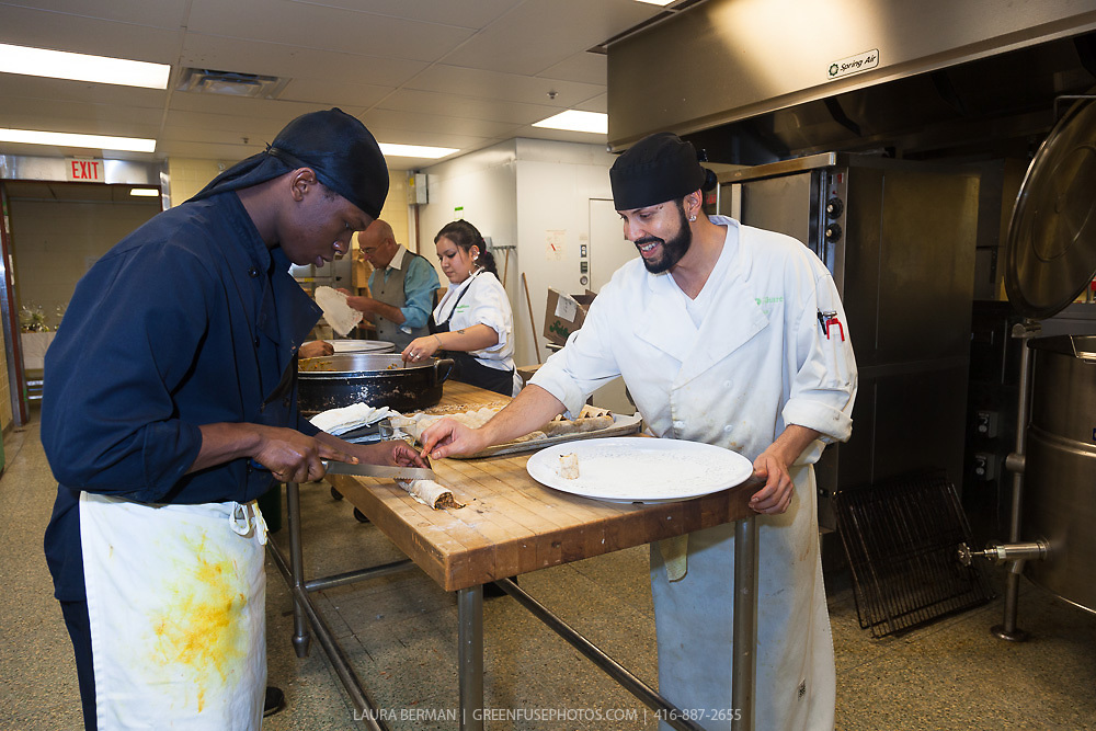 "FoodShare's kitchen staff preparing food for the launch party of ""share"", FoodShare's 1st cookbook. Nov. 14, 2012"